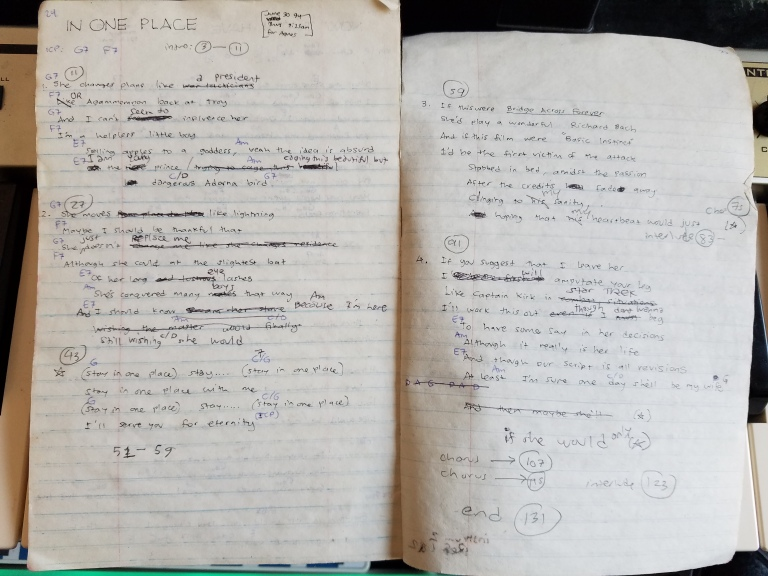 Photo of the original lyrics for the song